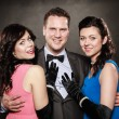 Love triangle. Two smiling women and man. Fun. — Stock Photo #53007261