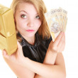 Woman with gift box and polish money banknote. — Stockfoto #53007323