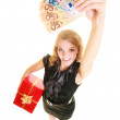 Woman with gift box and euro currency money banknotes. — Stockfoto #53007325