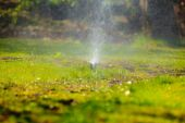 Gardening. Lawn sprinkler spraying water over grass. — Foto Stock