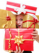 Holidays love happiness concept - girl with gift boxes — Foto de Stock