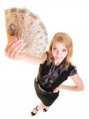 Business woman holding polish currency money banknote. — Stok fotoğraf