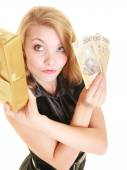 Woman with gift box and polish money banknote. — Stok fotoğraf