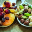 Varieties of dried fruits and nuts — Stock Photo #53266115