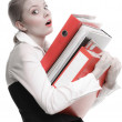 Business woman holding stack of folders — Stock Photo #53266567
