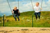 Brothers having fun on swing — Stock Photo