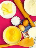 Bake ingredients and kitchen tools — Stock Photo