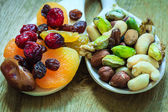 Varieties of dried fruits and nuts — Stock Photo