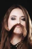 Teen girl with hair moustache — Stock Photo