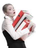 Business woman holding stack of folders — Foto de Stock