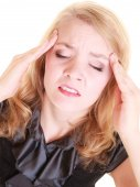 Woman suffering from head pain — Stock Photo
