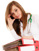 Overworked doctor woman with documents — Foto de Stock