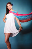 Summer woman with colored shawl — Stock Photo