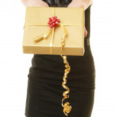 Dívka s krabičky — Stock fotografie