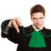 Lawyer showing thumb down — Stock Photo