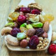 Varieties of dried fruits and nuts — Stock Photo #54156561