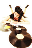 Woman with vintage vinyl records — Stock Photo
