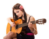Summer girl with guitar — Stock Photo