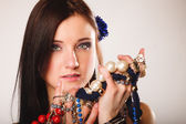 Girl with plenty of jewellery — Foto Stock