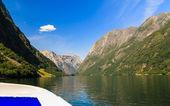 Dağlar ve norveç fiyordu — Stok fotoğraf