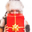 Winter girl with red gift box — Stock Photo #54223803