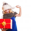 Winter girl with red gift box — Stock Photo #54223805