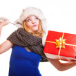 Winter girl with red gift box — Stock Photo #54223809