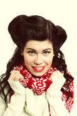 Woman retro hairstyle warm clothing winter fashion — Stock Photo