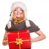 Winter girl with red gift box — Stok fotoğraf