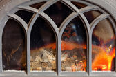Fireplace with orange fire flame — Stock Photo