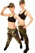 Two women in military clothes — Stock Photo