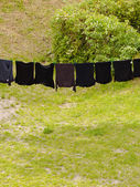 Laundry hanging to dry outdoor — Stock Photo