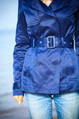 Girl in navy blue coat — Stock Photo