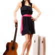 Girl with guitar and suitcase — Stock Photo #55928381