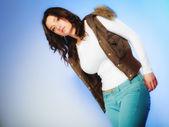 Woman in warm waistcoat — Stock Photo