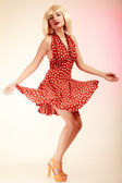 Pinup girl in retro dress — Stock Photo