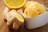 Ginger root honey and lemon — Foto Stock