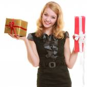 Blonde girl with gift boxes — Stock Photo
