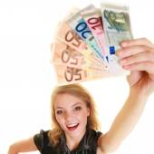 Woman showing euro currency banknotes — Stock Photo