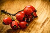Hawthorn on wooden table — Stock Photo