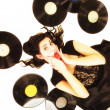 Girl with vinyl music records — Stock Photo #56507937