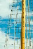 Yacht mast against blue sky — Foto Stock