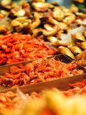 Shrimps at fish market — Stock Photo