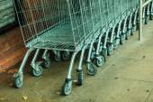 Row of shopping cart trolley — Stock Photo