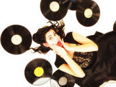 Girl with vinyl music records — Stock Photo