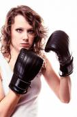 Boxer woman in black gloves — Stock Photo