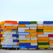 Colorful boxes plastic crates containers for fish — Stock Photo #57504853
