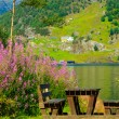 Picnic table and benches near lake in Norway, Europe. — Stock Photo #57558807