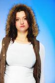 Woman  posing in warm waistcoat — Stock Photo
