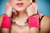 Teenager girl in handcuffs — Stock Photo